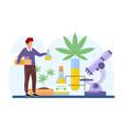 medical study effect cannabis on human health vector image