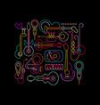 musical instruments neon design vector image