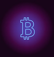 neon icon of blue bitcoin vector image