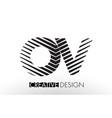 ov o v lines letter design with creative elegant vector image vector image