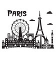 paris city skyline 7 vector image vector image