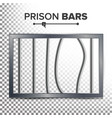 realistic prison window broken prison bars vector image