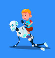 robot playing with little kid boy sitting on his vector image