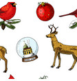 seamless pattern deer and snow globe red cardinal vector image vector image