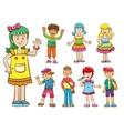 set cartoon kids vector image vector image