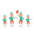 set cute christmas elves little child vector image