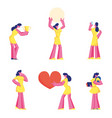 set cute girl in yellow dress holding big heart vector image
