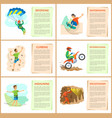 skydiving and skateboarding motorbike riding set vector image vector image