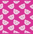 sleepy bear seamless pattern on pink background vector image vector image