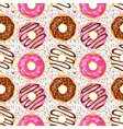 sweet donuts seamless pattern vector image
