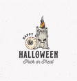 trick or treat vintage style halloween logo or vector image vector image