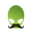 ufo hipster with mustache alien head isolated vector image vector image