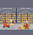 warehouse indoor space with goods on shelf vector image vector image
