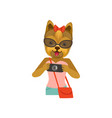 yorkshire terrier girl character dressed up in vector image