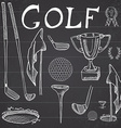 Golf Sport Hand drawn sketch set with golf clubs vector image