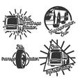 Vintage bus transportation emblems vector image