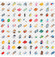 100 female icons set isometric 3d style vector image