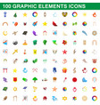 100 graphic elements icons set cartoon style vector image vector image