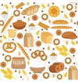 Bakery seamless pattern Flat style Bread and vector image