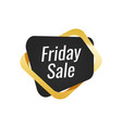 black friday sale tag with golden ribbon label vector image vector image