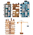 Buildings and construction tools vector image vector image
