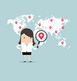 businesswoman holding magnifying glass finding map vector image vector image