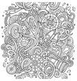 cartoon cute doodles hand drawn nautical vector image vector image
