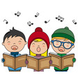 children singing with winter clothes vector image vector image