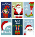 christmas card collection with santa and elves vector image vector image