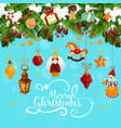 christmas card with festive garland and santa gift vector image vector image