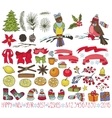 Christmas decoration kitDoodles with birds vector image vector image