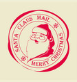 christmas stamp with text of santa claus post vector image vector image