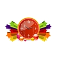 classic chronometer time sign red color vector image vector image