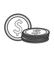 coins money cartoon black and white vector image vector image
