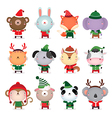 collection cute animals design with christmas vector image vector image