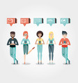 community people with social media icons vector image