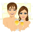 couple making toast with champagne in bathtub vector image vector image
