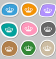 Crown icon symbols Multicolored paper stickers vector image