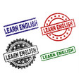 damaged textured learn english stamp seals vector image