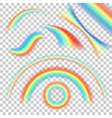 Different shape of realistic rainbows set vector image