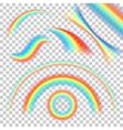 different shape realistic rainbows set vector image vector image