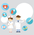 Doctor and nurse Present with Icons and Copy Space vector image