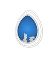 easter bunny rabbit in hole papercut art vector image vector image