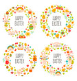 easter wreaths cute doodle spring decorations vector image