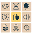 ecology icons set with globe pointer water drops vector image vector image