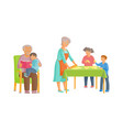 flat cartoon grandparents and children set vector image vector image