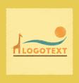 flat shading style icon giraffe logo vector image