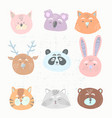 funny animals face collection vector image vector image