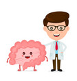 funny smiling doctor and healthy happy intestines vector image vector image
