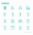 garbage thin line icons set vector image